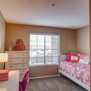Model Unit bedroom. Furnished in a modern style with an individual size bed